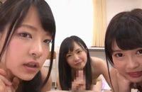 ロリ可愛い女子校生3人に淫語を浴びせられながら主観ハーレムSEXでパイパンまんこにハメまくり FC2 かわいい JK 女子校生の制服無料アダルト動画